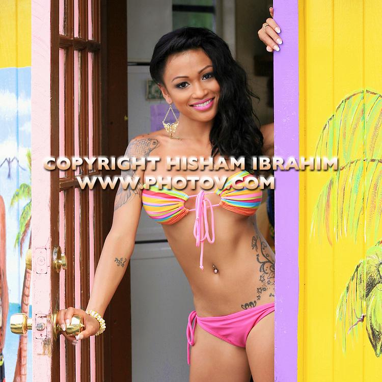 Sexy young Asian woman bikini, Freeport, Bahamas