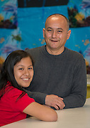 Erika Susano and Jose Zamora pose for a photograph at Durkee Elementary School, February 19, 2015.