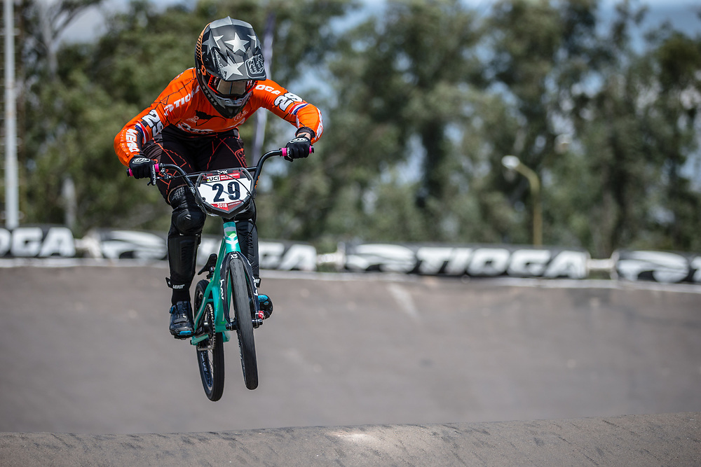#29 (HUISMAN Ruby) NED during practice at round 1 of the 2018 UCI BMX Supercross World Cup in Santiago del Estero, Argentina.