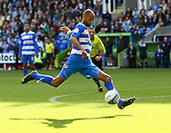 Jimmy Kebe (14) of Reading takes a shot (blocked) during the Npower Championship match between Reading and Barnsley on Saturday 25th September 2010 at the Madejski Stadium, Reading, UK. (Photo by Andrew Tobin/Focus Images)