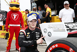 July 14, 2018 - Toronto, Ontario, Canada - JOSEF NEWGARDEN (1) of the United States wins the pole award for the Honda Indy Toronto at Streets of Toronto in Toronto, Ontario. (Credit Image: © Justin R. Noe Asp Inc/ASP via ZUMA Wire)
