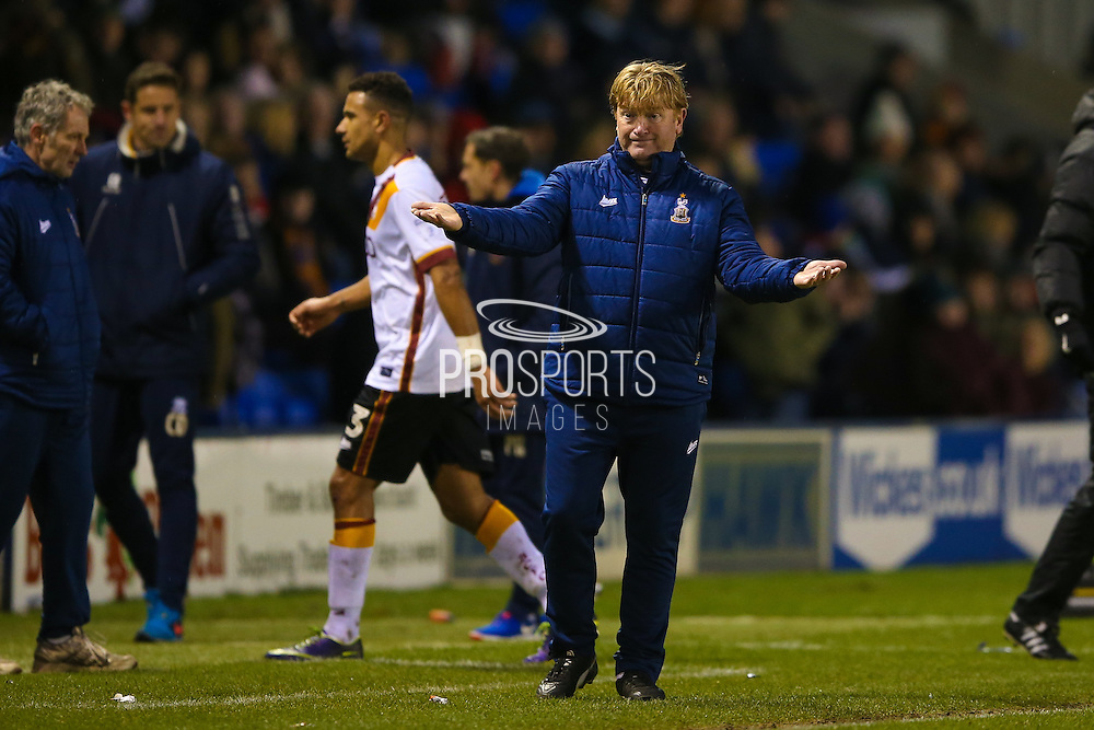 Bradford City Manager Stuart McCall  during the EFL Sky Bet League 1 match between Shrewsbury Town and Bradford City at Greenhous Meadow, Shrewsbury, England on 14 January 2017. Photo by Simon Davies.
