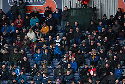 Fans in the South Stand. Falkirk 1 v 1 Morton, Scottish Championship game today at The Falkirk Stadium.<br />