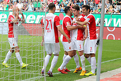 16.05.2015, SGL Arena, Augsburg, GER, 1. FBL, FC Augsburg vs Hannover 96, 33. Runde, im Bild l-r: Torjubel von Tobias Werner #13 (FC Augsburg), Dominik Kohr #21 (FC Augsburg), Raul Bobadilla #25 (FC Augsburg), Paul Verhaegh #2 (FC Augsburg) und Halil Altintop #7 (FC Augsburg) // during the German Bundesliga 33th round match between FC Augsburg and Hannover 96 at the SGL Arena in Augsburg, Germany on 2015/05/16. EXPA Pictures © 2015, PhotoCredit: EXPA/ Eibner-Pressefoto/ Kolbert<br /> <br /> *****ATTENTION - OUT of GER*****