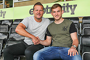 Forest Green Rovers manager, Mark Cooper with new signing George Williams at the New Lawn, Forest Green, United Kingdom on 12 June 2018. Picture by Shane Healey.