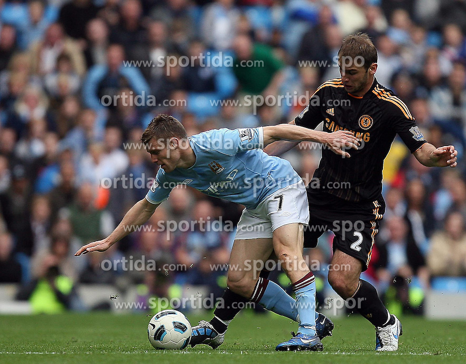 25.09.2010, City of Manchester Stadium, Manchester, ENG, PL, Manchester City vs Chelsea FC, im Bild Manchester City's Janes Milner  and Branislav Ivanovic of Chelsea, EXPA Pictures © 2010, PhotoCredit: EXPA/ IPS/ M. Atkins *** ATTENTION *** UK AND FRANCE OUT! / SPORTIDA PHOTO AGENCY