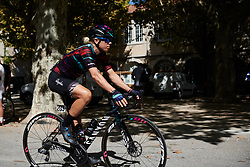 Leah Thorvilson (USA) makes her way to sign on at Tour Cycliste Féminin International de l'Ardèche 2018 - Stage 7, a 90.9km road race from Chomerac to Privas, France on September 18, 2018. Photo by Sean Robinson/velofocus.com