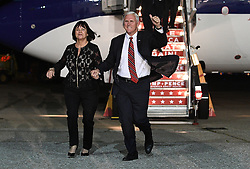 MOON TOWNSHIP, PA - NOVEMBER 3: Republican Vice Presidential candiate Mike Pence and his wife Karen Pence arrive to speak at a campaign rally at Atlantic Aviation on November 3, 2016 in Moon Township, Pennsylvania (Photo Credit: Justin Berl)