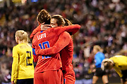 USA forwards Carli Lloyd (10) and Tobin Heath (17) celebrate after scoring a goal against Sweden during an international friendly women's soccer match, Thursday, Nov. 7, 2019, in Columbus, Ohio. USA defeated Sweden 3-2 . (Jason Whitman/Image of Sport)