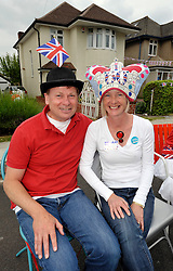 © Licensed to London News Pictures. 02/06/2012. Bristol, UK. Rob and Kate Groves at their street party in Great Brockeridge, Westbury-on-Trym, Bristol.  The Royal Jubilee celebrations. Great Britain is celebrating the 60th  anniversary of the countries Monarch HRH Queen Elizabeth II accession to the throne this weekend Photo credit : Simon Chapman/LNP