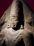 Granite statue of hindu god Vishnu, from Tamilnadu, India, circa 850-950AD. Vishnu is the Supreme God in the Vaishnavite tradition of Hinduism. Vishnu is depicted as one of the five primary forms of God. He is exalted as the highest God in Sruti like the Taittiriya Shakha and the Bhagavad Gita