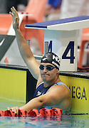 Moss Burmester thanks the crowd after qualifying in the Men's 200m Butterfly at the at the New Zealand Swimming World Championship Trials at the West Aquatic Centre, Auckland, New Zealand, on Saturday 16 December 2006. Photo: Hannah Johnston/PHOTOSPORT<br /> <br /> <br /> 161206