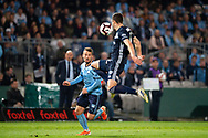 SYDNEY, AUSTRALIA - MAY 12: Sydney FC forward Adam Le Fondre (9) kicks the ball past Melbourne Victory defender James Donachie (17) at the Elimination Final of the Hyundai A-League Final Series soccer between Sydney FC and Melbourne Victory on May 12, 2019 at Netstrata Jubilee Stadium in Sydney, Australia. (Photo by Speed Media/Icon Sportswire)