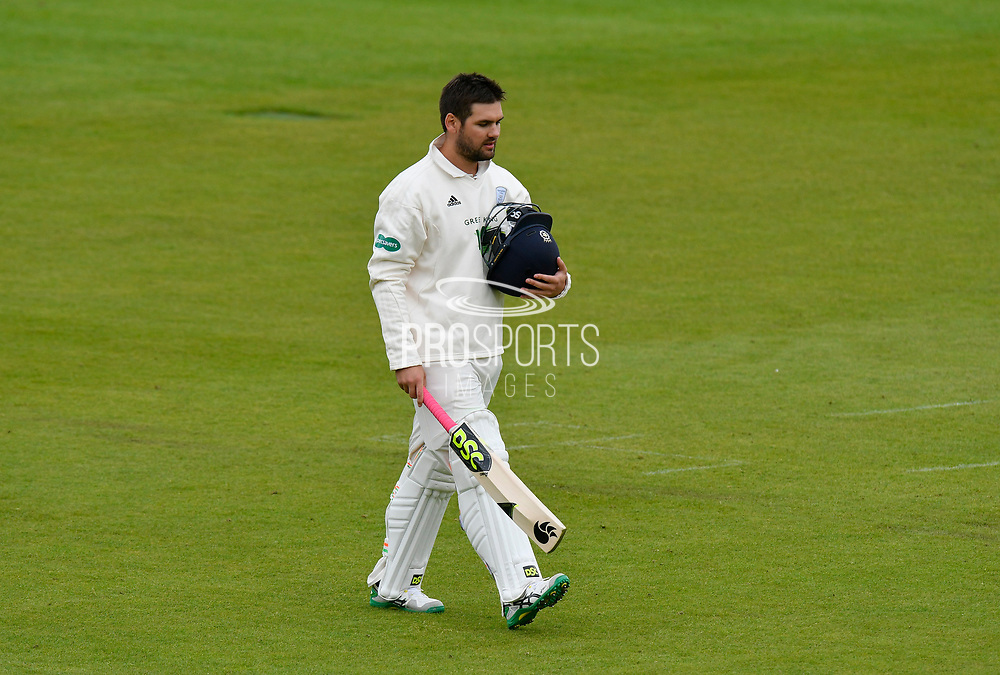 Rilee Rossouw of Hampshire looks dejected as he walks back to the pavilion after being dismissed by Jamie Porter of Essex during the first day of the Specsavers County Champ Div 1 match between Hampshire County Cricket Club and Essex County Cricket Club at the Ageas Bowl, Southampton, United Kingdom on 5 April 2019.