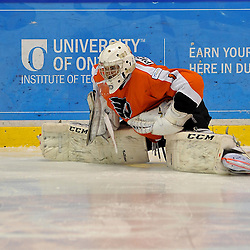 WHITBY, ON - Feb 11: Ontario Junior Hockey League game between Orangeville Flyers and Whitby Fury. Wyatt Pickrell #1 of the Orangeville Flyers Hockey Club during the pre-game warm-up.<br /> (Photo by Shawn Muir / OJHL Images)