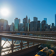 Traffic on Brooklyn Bridge with Manhattan skyline
