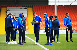 Bristol Rovers players gather on the pitch on arrival at Bloomfield Road - Mandatory by-line: Matt McNulty/JMP - 13/01/2018 - FOOTBALL - Bloomfield Road - Blackpool, England - Blackpool v Bristol Rovers - Sky Bet League One