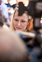 National Front (FN) Deputy of Vaucluse (France), Marion Marechal Le Pen is pictured  attends a press conference in Ars, where she came to support Christophe Boudot, local candidate to Regional elections.