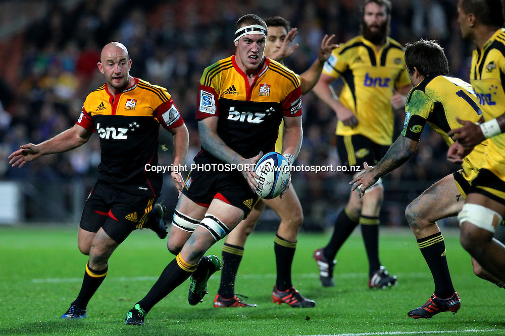 Chiefs' Brodie Retallick on the run. Super Rugby rugby union match, Chiefs v Hurricanes at Waikato Stadium, Hamilton, New Zealand. Saturday 28th April 2012. Photo: Anthony Au-Yeung / photosport.co.nz