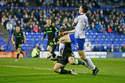 Connor Jennings of Tranmere Rovers goes down after a challenge by Forest Green Rovers Lee Collins(5) during the EFL Sky Bet League 2 play off first leg match between Tranmere Rovers and Forest Green Rovers at Prenton Park, Birkenhead, England on 10 May 2019.