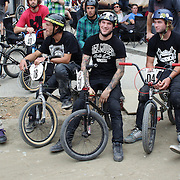 Competitors, from left, Mike Hucker Clark, Jake Prebble, Brandon Docsh, Paul Langland and Kane O'Hagan during the 'Red Bull Roast It' BMX competition with riders from around the globe competing at the Gorge Road Jump Park, Queenstown, South Island, New Zealand. 18th February 2012. Photo Tim Clayton