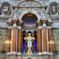 Altar of Frederik's Church in Copenhagen, Denmark <br /> The centerpiece of the Frederik's Church is this ornate, baroque altar.  Surrounding it (off camera) are twelve frescos painted by Chresten Overgaard which represent the Apostles.  The Frederiks Kirche serves the Evangelical Lutheran community in the Frederiksstaden District.  Construction of The Marble Church took about 150 years from 1749 until 1894.  It is located a block west of the Amalienborg Palace.