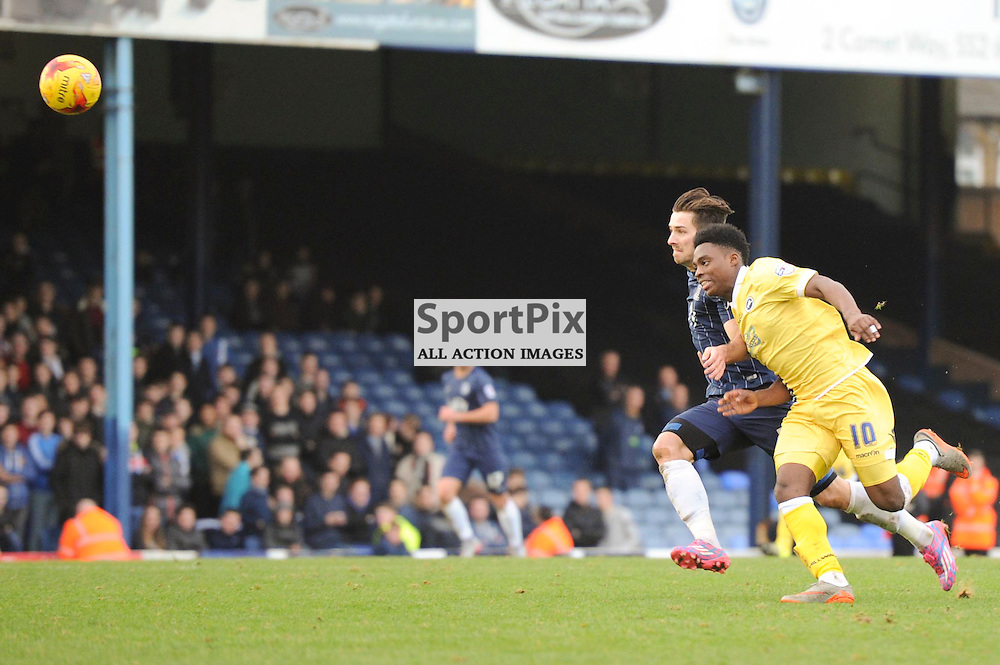 Southends Ryan Leonard and Millwalls Fred Onyedinma in action during the Southend v Millwall game in the Sky Bet League 1 on the 28th December 2015.