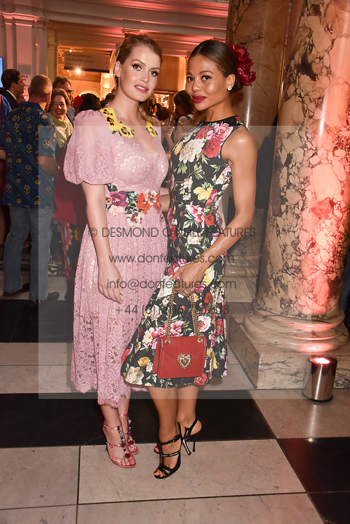 "Left to right, Lady Kitty Spencer and Viscountess Weymouth at the opening of ""Frida Kahlo: Making Her Self Up"" Exhibition at the V&A Museum, London England. 13 June 2018."