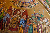 Close-up of a beautiful, colorful mosaic, inside St. Mark's Basilica, Venice, Italy.