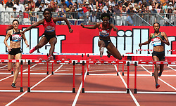 July 21, 2018 - London, United Kingdom - Janieve Russell of Jamaica and Shamier Little of USA (Middle) in action 400m Hurdles Women.during the Muller Anniversary Games IAAF Diamond League Day One at The London Stadium on July 21, 2018 in London, England. (Credit Image: © Action Foto Sport/NurPhoto via ZUMA Press)