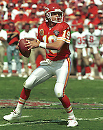 Kansas City quarterback Joe Montana during game action against the San Francisco 49er's at Arrowhead Stadium in Kansas City, Missouri in 1994.