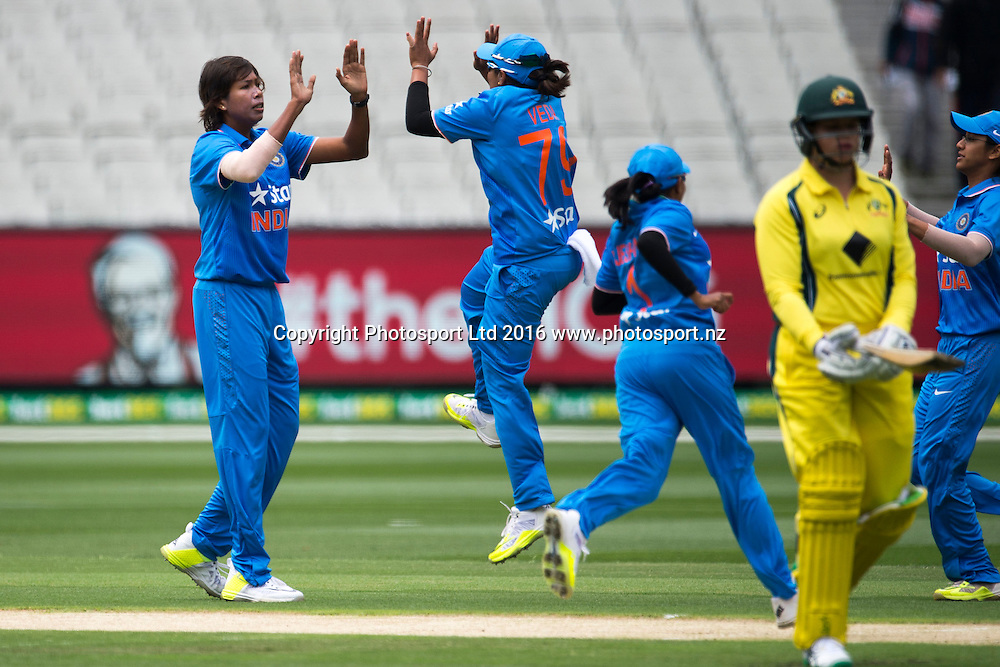 Indian players celebrate the wicket of Grace Harris during the Women's Twenty20 match between Australia and India at the MCG in Melbourne, Australia. Friday 29 January 2016. Copyright photo: Raghavan Venugopal / www.photosport.nz