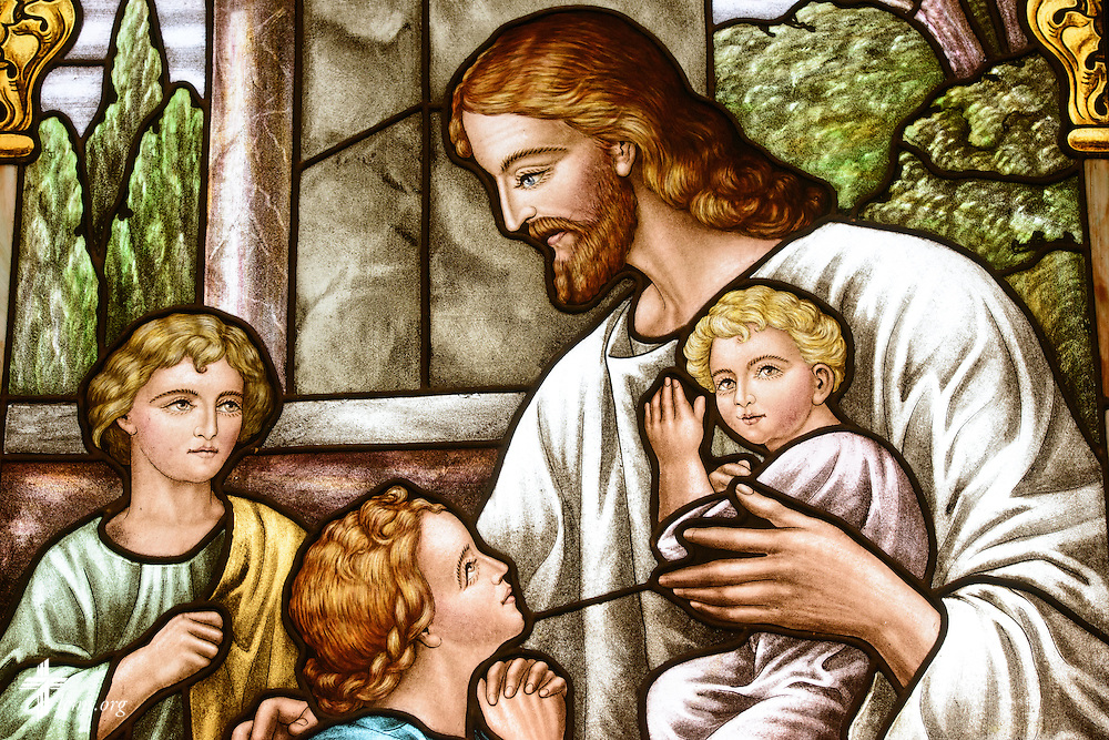 Stained glass of Jesus with children at St. John's Lutheran Church of Plymouth, Wis., on Friday, Jan. 29, 2016. LCMS Communications/Erik M. Lunsford