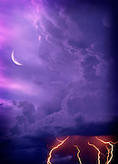 Purple Lightning storm, Crescent moon, Denver