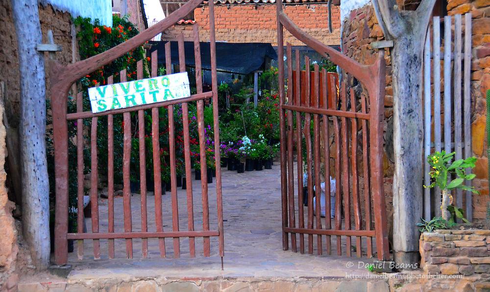 Vivero Sarita (greenhouse) gate in Samaipata, Santa Cruz, Bolivia