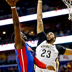 Mar 1, 2017; New Orleans, LA, USA; Detroit Pistons guard Reggie Jackson (1) shoots over New Orleans Pelicans forward Anthony Davis (23) during the second quarter of a game at the Smoothie King Center. Mandatory Credit: Derick E. Hingle-USA TODAY Sports