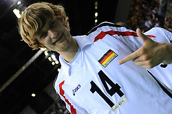 "17.09.2010, Arena Ludwigsburg, Ludwigsburg, GER, Vorbereitung Volleyball WM 2010, Laenderspiel Deutschland ( GER ) vs. Brasilien ( BRA ) 3:2, im Bild Robert Kromm (#14 GER / Ufa RUS) - ""Gabidaen"", weil Bjoern Andrae (#5 GER / Kemerovo RUS) verletzt war. EXPA Pictures © 2010, PhotoCredit: EXPA/ nph/   Conny Kurth+++++ ATTENTION - OUT OF GER +++++"