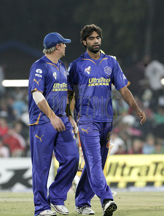 CENTURION, SOUTH AFRICA - 30 April 2009.  during the  IPL Season 2 match between the Rajasthan Royals and the Chennai Superkings held at  in Centurion, South Africa. Shane Warne and Munaf Patel.