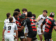 Christopher Tolofua grabs a Brive player by the throat as tempers flare up in the first ten minutes of the match. Stade Toulousain v Brive, 24eme Journee, Top 14. Stade Ernest Wallon, Toulouse, France, 21 Avril 2012.