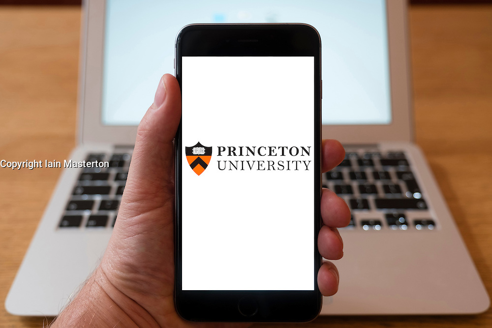 Using iPhone smartphone to display logo of Princeton University