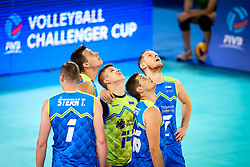Players of Slovenia during volleyball match between Slovenia and Chile in Group A of FIVB Volleyball Challenger Cup Men, on July 3, 2019 in Arena Stozice, Ljubljana, Slovenia. Photo by Matic Klansek Velej / Sportida