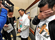 An emotional Edit Vanegas and his brother-in-law, Neftali Chavez, react to the verdict for Caleb Lacey, a volunteer firefighter who was sentenced to 25 years to life in Criminal Court in Mineola, N.Y. for setting a fire in a bid to be a hero that ended up killiing Morena Vanegas, wife of Edit Vanegas, and three of their children. AP Photo / Kathy Kmonicek