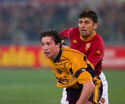ROME, ITALY - Thursday, February 15, 2001: Liverpool's Robbie Fowler and AS Roma's Walter Samuel during the UEFA Cup 4th Round 1st Leg match at the Stadio Olimpico. (Pic by David Rawcliffe/Propaganda)