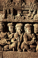 Borobudur, Java, Indonesia Buddhist temple carving detail with dramatic morning light