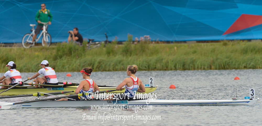 Eton Dorney, Windsor, Great Britain,..2012 London Olympic Regatta, Dorney Lake. Eton Rowing Centre, Berkshire.  Dorney Lake.  GBR LW2X, Bow. Kat COPELAND and Sophie HOSKING, qualifying for the Women's Lightweight Double Sculls..10:36:47  Thursday  02/08/2012 [Mandatory Credit: Peter Spurrier/Intersport Images]  .