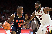 FAYETTEVILLE, AR - FEBRUARY 27:  Mustapha Heron #5 of the Auburn Tigers drives around Arlando Cook #5 of the Arkansas Razorbacks at Bud Walton Arena on February 27, 2018 in Fayetteville, Arkansas.  The Razorbacks defeated the Tigers 91-82.  (Photo by Wesley Hitt/Getty Images) *** Local Caption *** Mustapha Heron; Arlando Cook