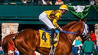 Jockey Chris Landeros riding Arctic Slope, Keeneland Racecourse, Lexington, Kentucky USA.