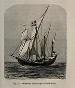 19th century Woodcut print of a Caravel used by Christopher Columbus on paper of a ship from L'art Naval by Leon Renard, Published in 1881