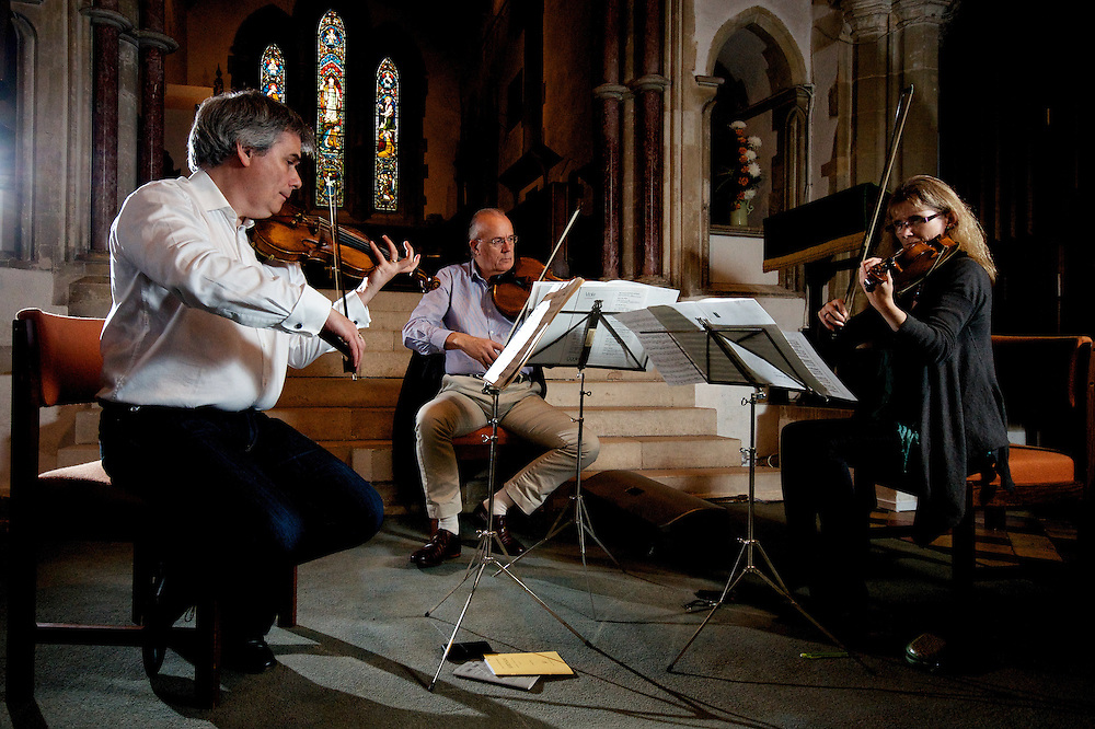 Clare Hayes, Katherine Jenkinson, Simon Smith and Paul Silverthorne rehearse at St Mary's Church, Standon, Hertfordshire.