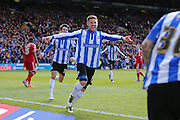 Sheffield Wednesday striker Gary Hooper (14) celebrates his opening goal 1-0 during the Sky Bet Championship match between Sheffield Wednesday and Cardiff City at Hillsborough, Sheffield, England on 30 April 2016. Photo by Phil Duncan.